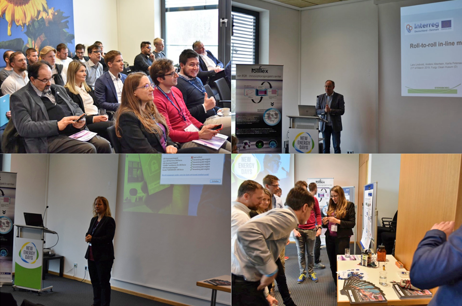 Impressions from the workshop: Top left the audience during the talks, top right and bottom left the speakers Prof. Martina Gerken from Kiel University and Lars Lindvold from Stenborg and top right the participants looking at the exhibits.